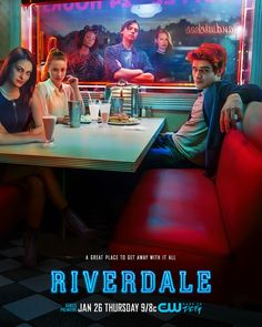 Riverdale Poster Mixes Murder Mystery and Malt Shops  The CW has released the official poster for its upcoming Archie Comics mystery drama Riverdale.  The poster features the show's six main characters an old-school malt shop and a couple of tasty-looking milkshakes. You can spot Archie Andrews (KJ Apa) sitting across from Veronica (Camil Mendes) and Betty (Lili Reinhart). Jughead (Cole Sprouse) Cheryl (Madelaine Petsch) and Josie (Ashleigh Murray) on the other hand are looking in from the…