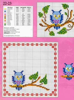 hibou Cross Stitch Owl, Cross Stitch Alphabet, Cross Stitch Animals, Cross Stitch Charts, Cross Stitch Designs, Cross Stitching, Cross Stitch Patterns, Owl Family, Bird Crafts