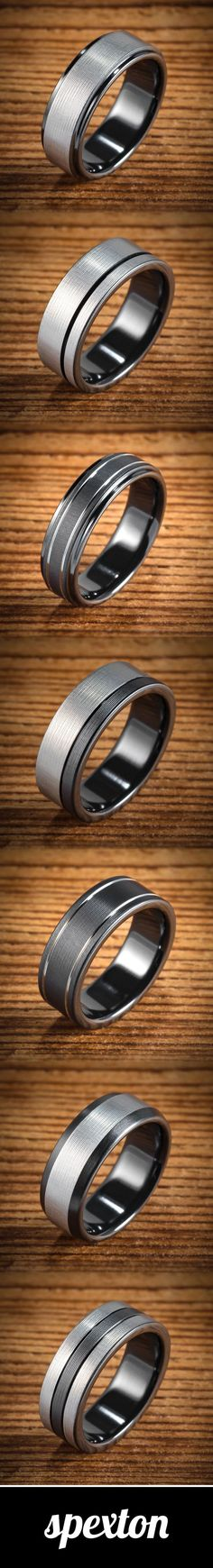 Black & Silver Bi-Color Black Zirconium Men's Wedding Bands custom made by Spexton