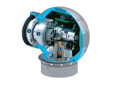 Powerball Lightweight Arm LWA 4P: SCHUNK Mobile Greifsysteme --- Powerball ERB -----  1) Electric control system 2) Encoder ---  3) Drive ---  4) Harmonic Drive®gear ---  5) Holding brake---  6) Hollow shaft for internal cabling
