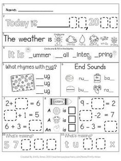 AUGUST FIRST GRADE MORNING WORK FREEBIE - TeachersPayTeachers.com