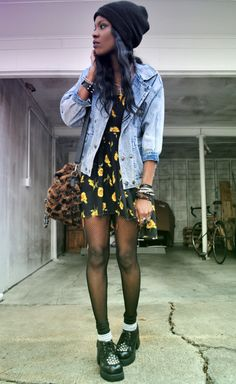 Jeans Jacket and Dress @69-withjesus.tumblr.com