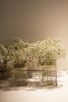 Lonepine Penang beach wedding baby's breath centerpiece
