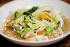 Simple chunky chicken soup.