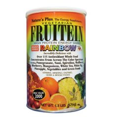 FRUTEIN Vegetarian protein powder shakes.  My favorite is the Rainbow flavor.  Picture: eBay affiliate link.