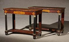 Pair of Classical Ormolu Mounted and Gilt Stencil Decorated Rosewood Pier Tables  Circa 1825  Height: 34 in (86.4 cm); Width: 44-3/4 in (113.7 cm); Depth: 18-3/4 in (47.6 cm)
