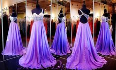Lilac One Shoulder Beaded Prom Dress Backless Beaded Crystals Evening Dresses For Formal Party