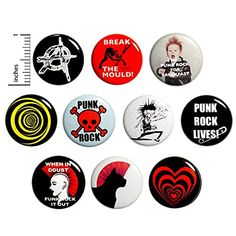Amazon.com: Sarcastic Punk Rock Buttons Pins for Backpacks or Fridge Magnets Cool Rad 10 Pack Gift Set 1 Inch 10P3-2: Handmade Funny Buttons, Cool Buttons, God Save The Queen, Work Jokes, Jacket Pins, Work Gifts, Post Punk, Anarchy, Punk Rock