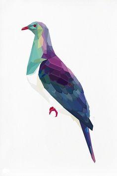 Geometric illustration Pigeon Native NZ Kereru by tinykiwiprints Art And Illustration, Illustrations, Animal Drawings, Art Drawings, Drawing Animals, Collage Art, Collages, Geometric Bird, Wood Pigeon
