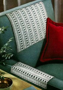 Intermediate- Chair Back Set crochet pattern from Suggestions for Fairs and Bazaars, originally published by American Thread Co, Star Book No. Crochet Curtains, Crochet Quilt, Thread Crochet, Filet Crochet, Crochet Doilies, Crochet Lace, Crochet Placemat Patterns, Vintage Crochet Patterns, Doily Patterns