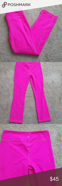 Hot Pink Lulu 🍋 Leggings Hot pink Lululemon leggings. There is no size. In new so I cannot verify size, they are pretty small. The waist measurement is shown. Any questions please ask! Excellent condition! lululemon athletica Pants