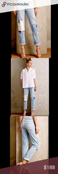 """Anthropologie Paige light denim Patched Jeans 27 Anthropologie Paige Jimmy Jimmy light denim Patched Jeans super extra soft light cotton denim fun & edgy five pocket straight  semi skinny fit jeans patchwork legs with fraying * white metal logo hardware  can be worn cuffed or un cuffed   New Without Tags  *  Size:  27  100% cotton machine wash       measures: 35"""" around waist  8"""" rise 39"""" around hips 32"""" inseam 13"""" bottom leg opening Anthropologie Jeans"""