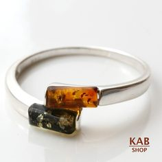 RING BALTIC AMBER STERLING SILVER 925 BEAUTY NATURAL TWO STONE. KAB-R14