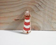Lighthouse Wooden Brooch by kateslittlestore on Etsy