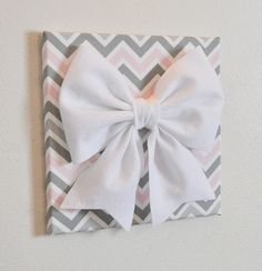 Wall Decor Large White Bow On Pink And Gray Chevron 12 X12 Canvas Art Baby Nursery