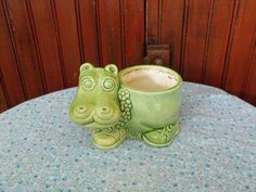 Vintage Lime Green Hippo Planter