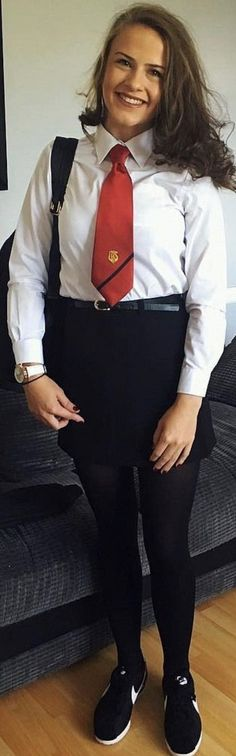 Dressed In Formal School Uniform With Red Tie . British School Uniform, College Uniform, School Uniform Fashion, School Uniform Girls, Cute School Uniforms, Girls Uniforms, School Girl Dress, Sexy Teens, Young Fashion