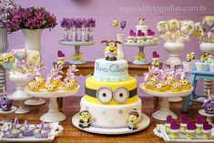 Fantastic dessert table at a Despicable Me Minions birthday party! See more party planning ideas at CatchMyParty.com!