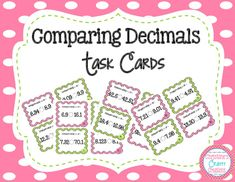 28 Comparing Decimals Task Cards. These task cards are great for math centers, group work, whole class activities, and much more. Answer key and student recording sheet included. More 4th grade math resources: 4th Grade End Of The Year Math Review Packet Fraction Task Card Bundle (9 center activit...