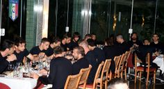 Players of Italy eat during Italy Team Visit Casa Azzurri on Mangaratiba on June 7, 2014 in Rio de Janeiro, Brazil.