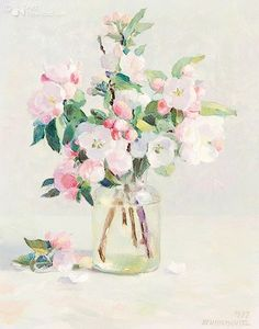 henk helmantel I977  pink blossom in a glass jar