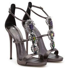 Black Giuseppe Zanotti Gunmetal Leather Multi Crystal Jewel Evening Sandals Heels For Sale Stilettos, Crazy Shoes, Me Too Shoes, Shoe Boots, Shoes Heels, Giuseppe Zanotti Shoes, Zanotti Heels, Frauen In High Heels, Jeweled Sandals