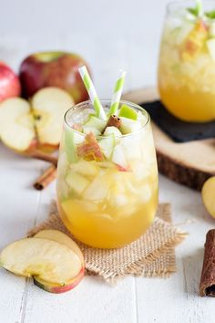 Apple Pie Sangria - A perfect fall sangria made with white wine, caramel vodka, crisp apples and fresh apple cider.