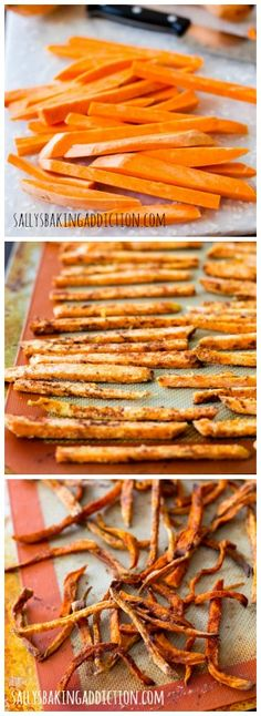 Learn how to make crispy sweet potato fries at home. Baked, not fried - so you can eat the whole plate!