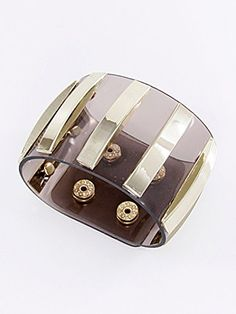 Brown, Gold and Clear,fashion Clear Leather Bracelet Snap Button Closure Materials Metal Materials Clear Leather Length 9.0 Inch Width 2.0 Inch Unknown http://www.amazon.com/dp/B00KXAOAEE/ref=cm_sw_r_pi_dp_svMLvb1SRA8C2