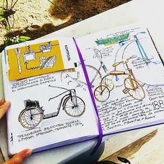 Has been sketching awesome vintage bicycles at the exhibition today ----- В павильоне Карелия сейчас, оказывается, офигенная выставка велосипедов от @polytechnicum , называется #изобретаявелосипед. Жила бы там, чесслово :) ----- #вднх #mysquiggles #leucht | by Nastroeniya