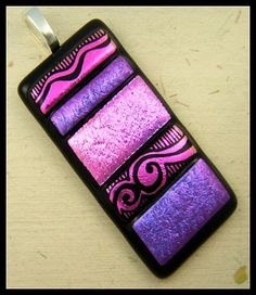 Original dichroic glass pendant...Engraved Dimensions...SRA