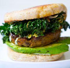 shamrock breakfast sandwich. kale. pepitas. jalapeno sauce.