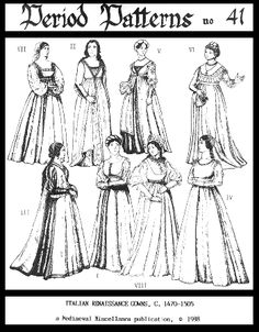 Provides patterns for 7 gowns & 1 tabard (sizes 8-18). Two have split skirts. underskirts, and stomachers, to fake an underdress. The underskirts and sto