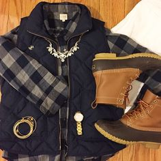 Buffalo check plaid, bean boots, jcrew puffer vest - alwaysaboutthedetails.com
