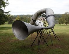 Trumpets that amplify the sounds of the woodland by Studio Weave. Studio Weave, Music Garden, Sound Installation, Banquette Seating, Dezeen, Weaving, Trumpets, Outdoor Decor, Woodland