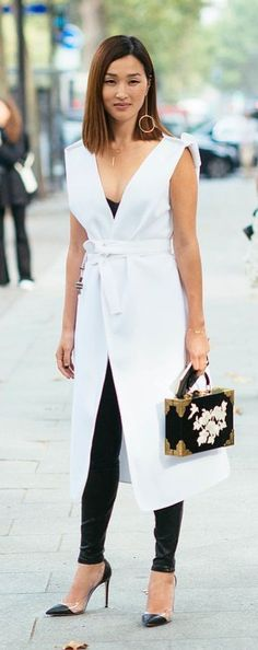 A+white+wrap+dress+and+leather+leggings+#white