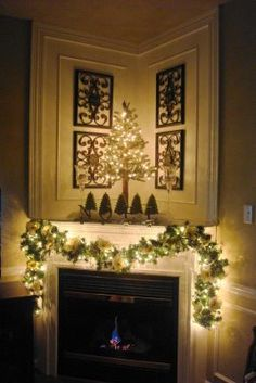 corner fireplace decor- great idea- love this with the paneling on