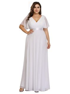 Ever-Pretty Women's Plus Size Double V-Neck Evening Party Maxi Dress 09890 - Trendy Ideas for Wedding Pretty Dresses, Beautiful Dresses, Maid Of Honour Dresses, Bride Dresses, Bridesmaid Dresses, Plus Size Party Dresses, Affordable Dresses, Formal Dresses For Women, Business Dresses