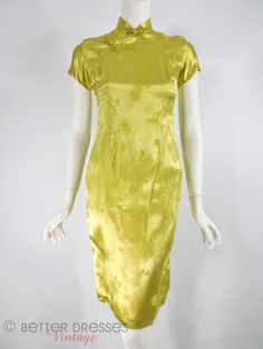 Vintage 1950s or 1960s Cheongsam. Acid Yellow Satin Qi Pao - xs, sm – Better Dresses Vintage