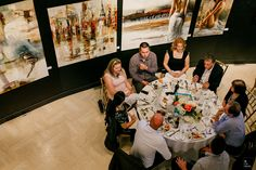 Guests eating dinner surrounded by art works at the Joseph D Carrier art gallery Centre, Art Gallery, Joseph, Wedding, Dinner, Valentines Day Weddings, Dining, Art Museum, Fine Art Gallery