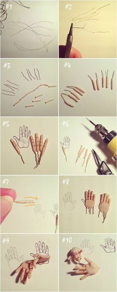 Yesterday I decided to make another pair of hands and I took photos to show my method step-by-step. It's not really a tutorial, but I thought someone might find it useful if, like me, you lean towards a methodical approach!  #1: I use some picture-framing wire that is made up of very thin strands. I cut 5 lengths of one strand. #2: I bend the wire in half and use pliers to hold one end while I twist the wire back on itself, making it stronger. #3: I cut each of the 5 strands in half and…