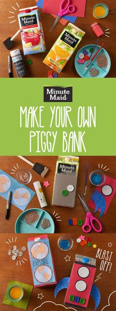 Want to teach the kids to save for a rainy day? Try turning your favorite Minute Maid juice drink carton into a fun DIY piggy bank project. It'll be a blast!