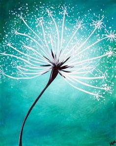 Dandelion painting idea in teal blue. Simple Acrylic Paintings, Easy Paintings, Beginner Painting, Diy Painting, Painting Abstract, Diy Canvas, Canvas Art, Dandelion Painting, Guache