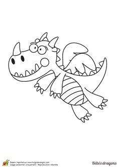 Ce dragon sait maintenant comment se servir de ses ailes, à colorier