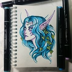Instaart - Tyrande Whisperwind by Candra on DeviantArt Druid Tattoo, Chiara Bautista, World Of Warcraft 3, Night Elf, Sketch Markers, Wow Art, Marker Art, Game Character, Character Ideas