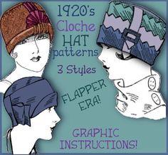 SEW 3 Vintage 1920s FLAPPER CLOCHE Hat vintage by eVINTAGEpatterns, $3.99