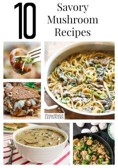 10 Savory Mushroom Recipes- You will find a lot of delicious ways to use mushrooms with these savory recipes including dinner recipes, soup recipes, and delicious sauce ideas. Also, learn how to store and freeze mushrooms.