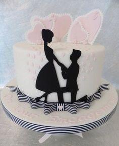 Pastel con siluetas de pedida de mano de Deborah @ CakesDecor.com