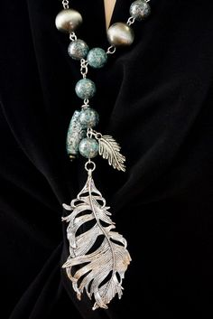 Metal Silver Patina Feather Neckace & Earring set