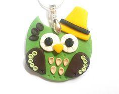 Gufo cappello collana verde collana di Owl (Gufo ciondolo gufo uccello collana gufo fascino polimero argilla gufo fascino collana gufo carino collana gioielli)